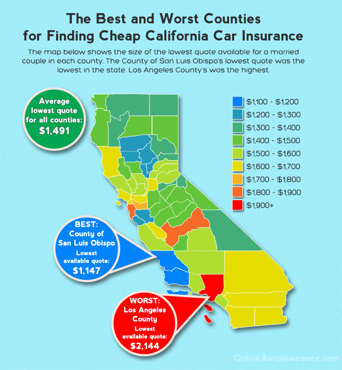 California Heat Map Showing The Lowest Average Rate For Each County