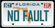 Florida vehicle license plate reading 'NO FAULT'