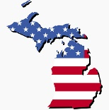 United States flag shaped as Michigan